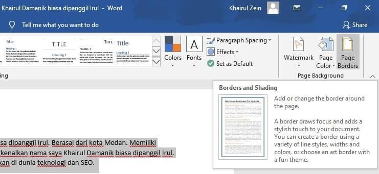 membuat border keren microsoft word