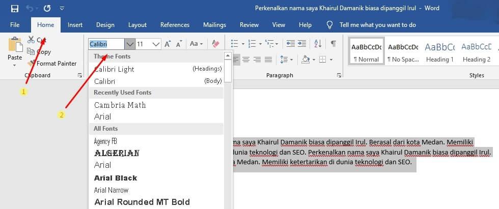 mengubah jenis font