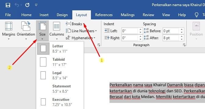 mengubah ukuran kertas dokumen word