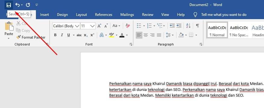 menyimpan dokumen baru ms word