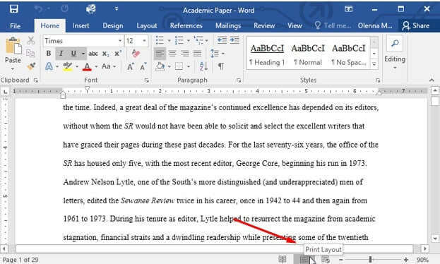 print layout microsoft word