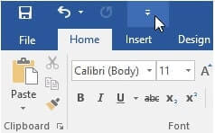 quick access toolbar microsoft word