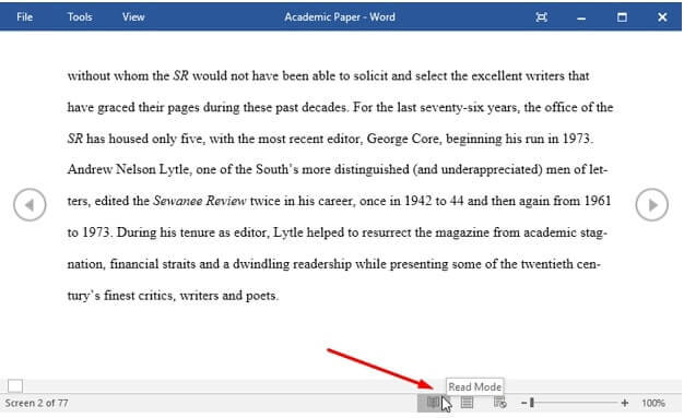 read mode microsoft word