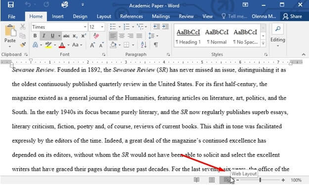 web layout microsoft word