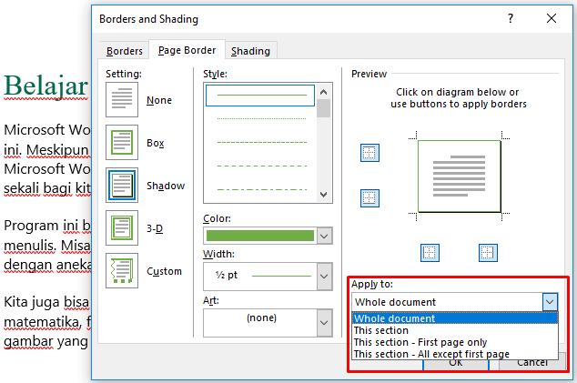 cara membuat bingkai di halaman tertentu