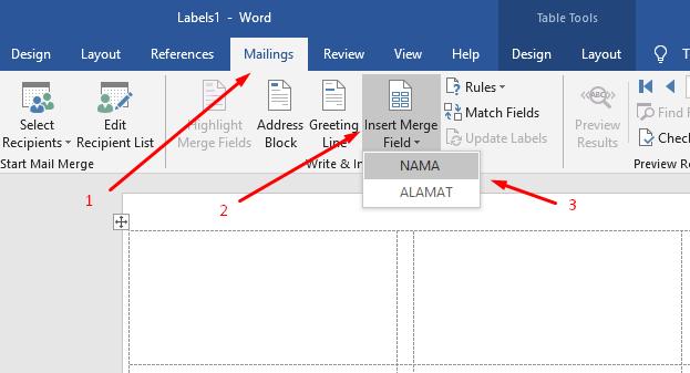 memasukkan data label ke template label 3