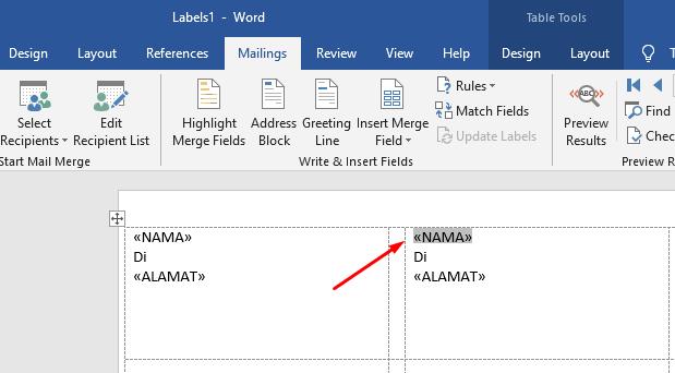 memasukkan data label ke template label 5