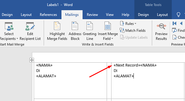 memasukkan data label ke template label 6