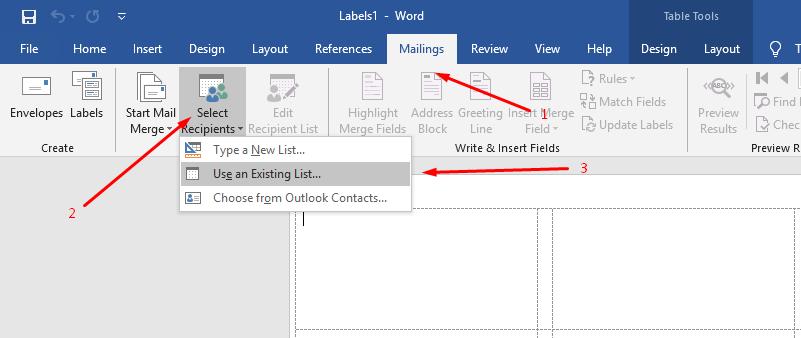 memasukkan data label ke template label