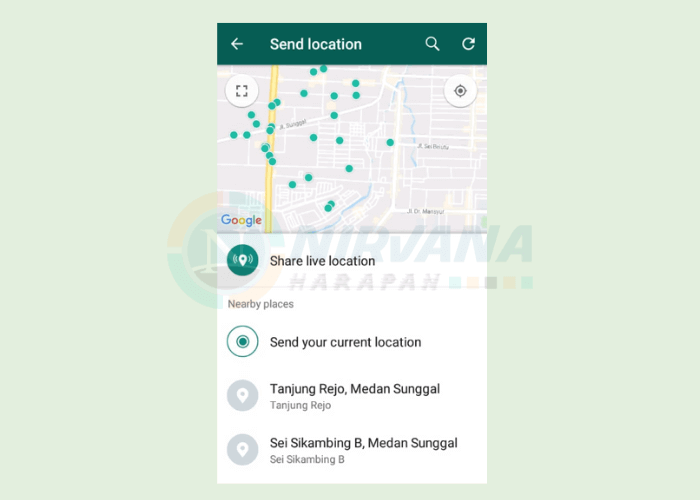 cara send your current location whatsapp