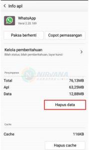 hapus data wa
