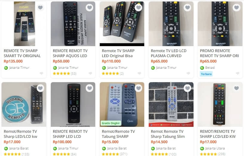 harga remot tv sharp